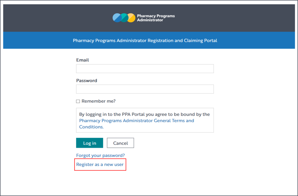 A screenshot of the PPA portal login screen, with the Register as a new user link highlighted with a red box