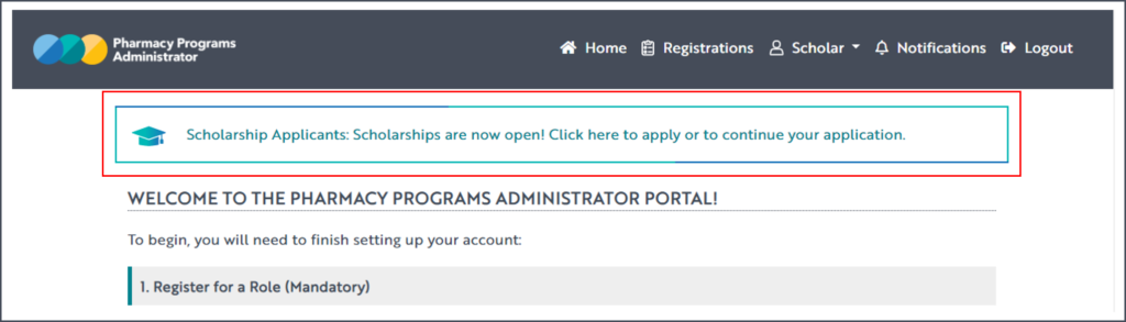 A screenshot of the PPA home screen, with the Scholarships application link at the top of the page highlighted with a red box